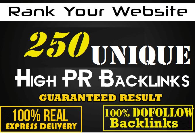 Make 250 High DA PA PR-10 sites Unique Domain Dofollow blog comment backlinks