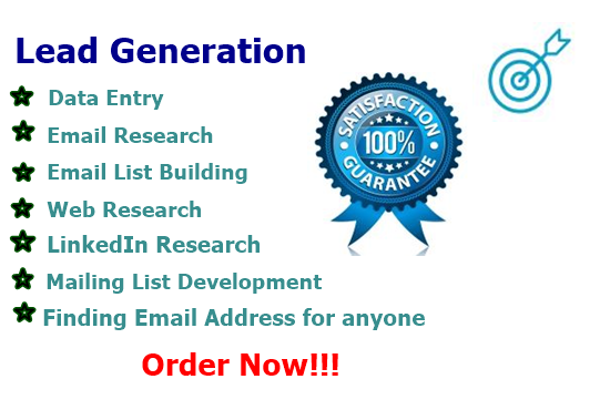 I will do data entry,  lead generation and web research