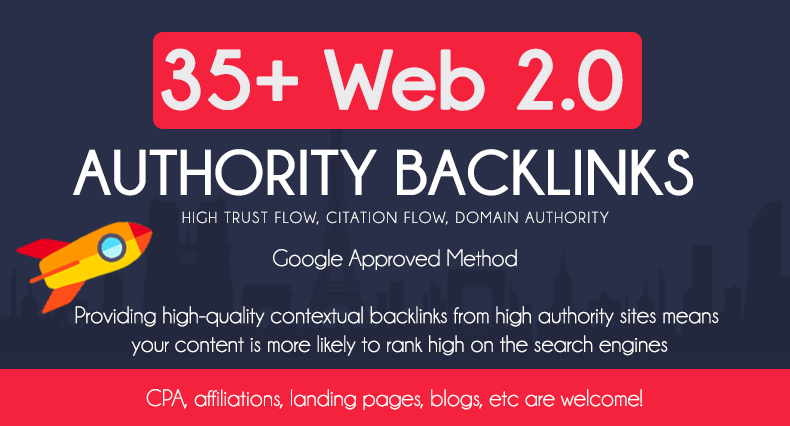 Add 35 HQ Web 2.0 Authority Backlinks