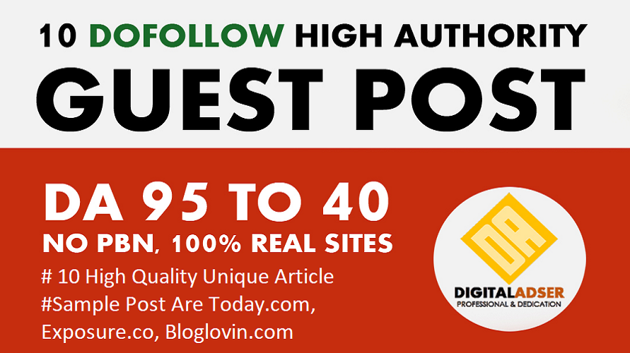 Write And Publish 10 Authority Guest Post DA 95-40 -UPDATED