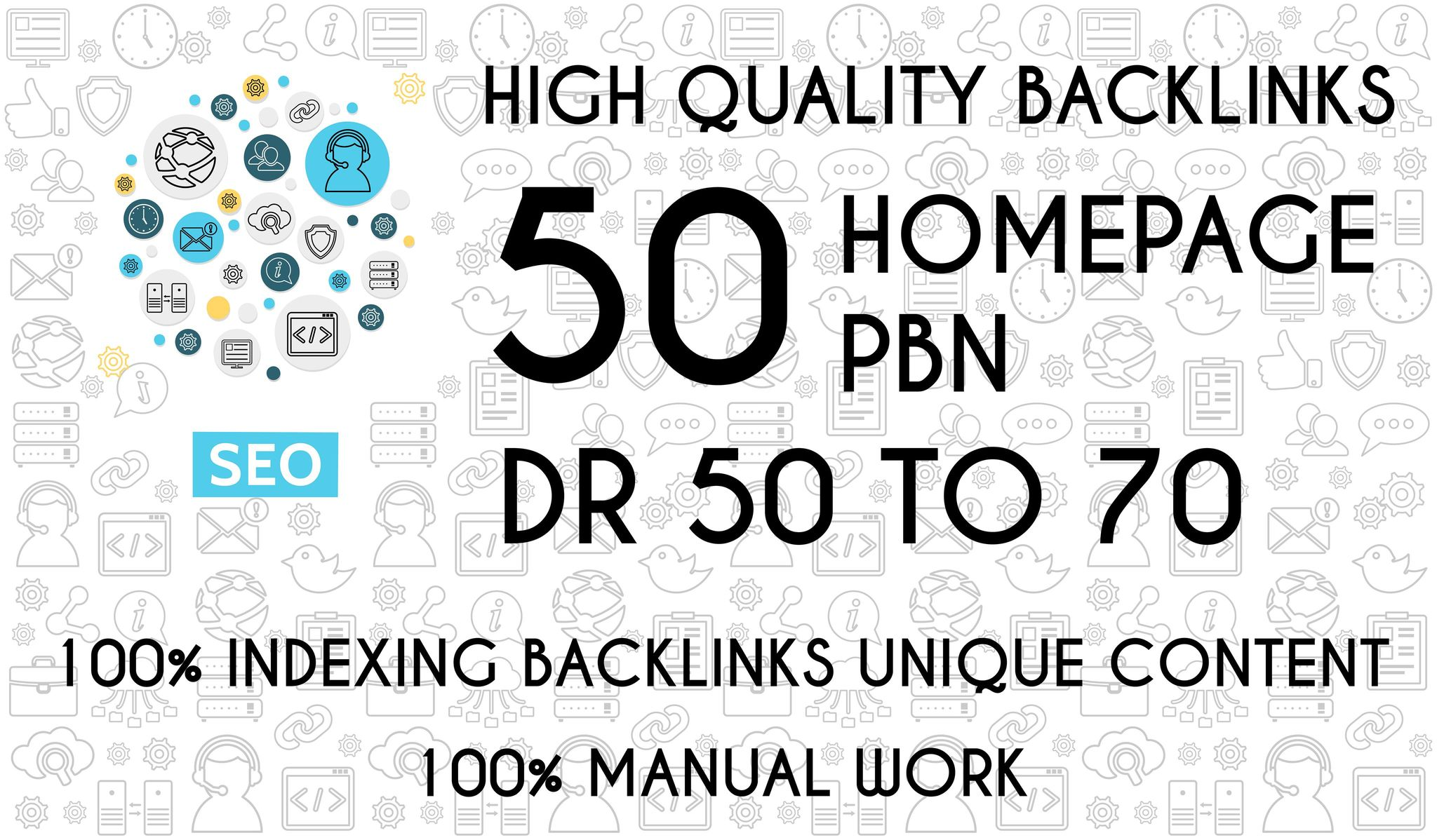 Get 50 PBN Homepage Backlinks Dofollow On DR 50 to 70