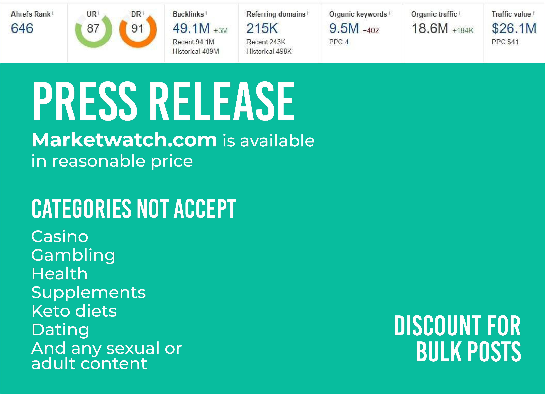 Publish Guest Post on Marketwatch. com High-ranked website Do-follow Backlinks DA 93