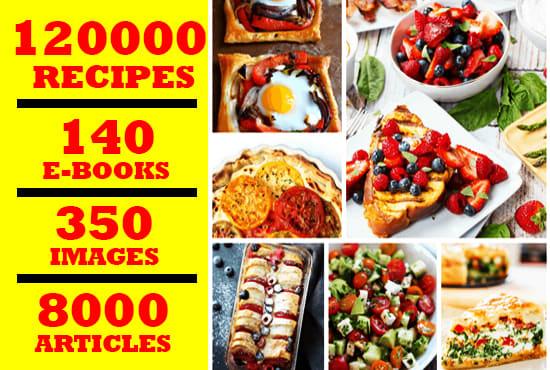 120000 Food Recipes 140 e book and 8000 articles