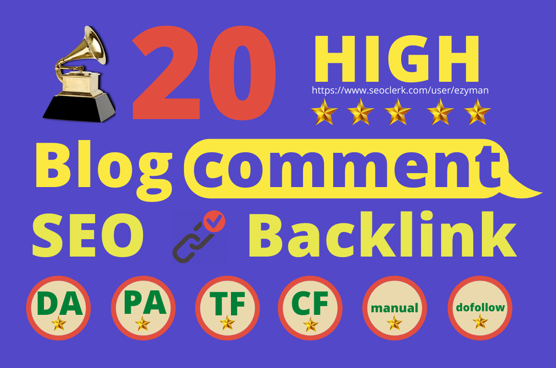 I will do 20 manually high da blog commenting
