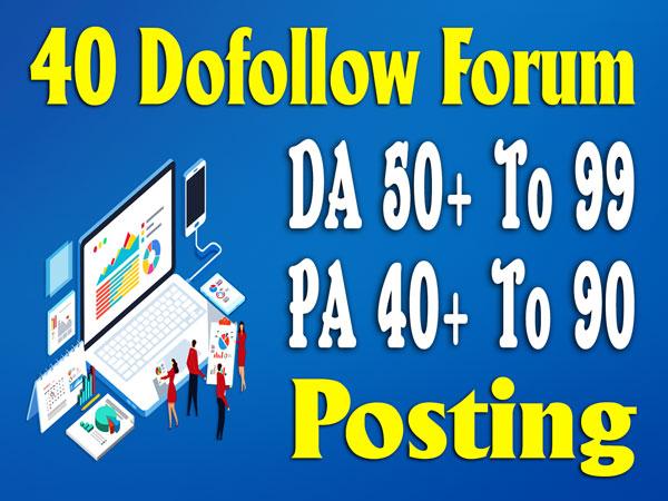 DA 50+ high quality 40 forums posting seo posts backlinks