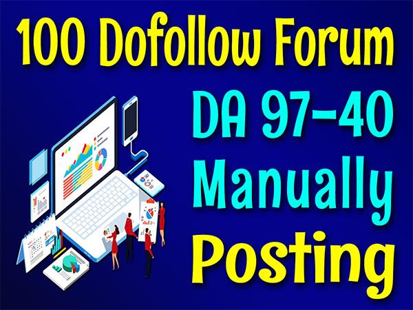 DA 97 to 40 High Authority 100 Forums Posting SEO Posts Backlinks