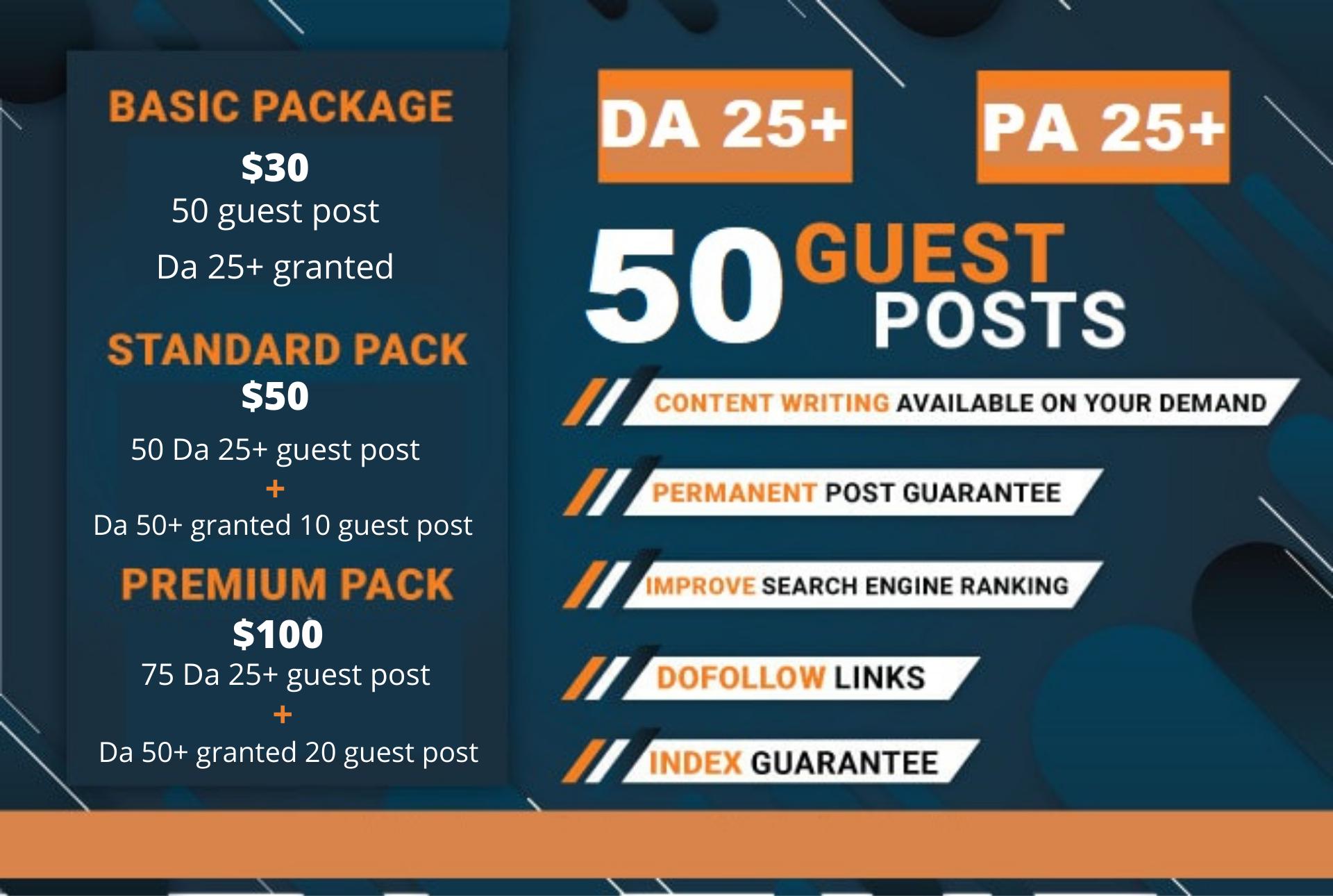 I will publish 50 guest post DA 25+ granted