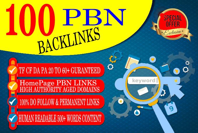 Create 100 HOMEPAGE PBN Backlinks 100 Dofollow & Permanent Links With High DA/PA/CF/TF web2.0