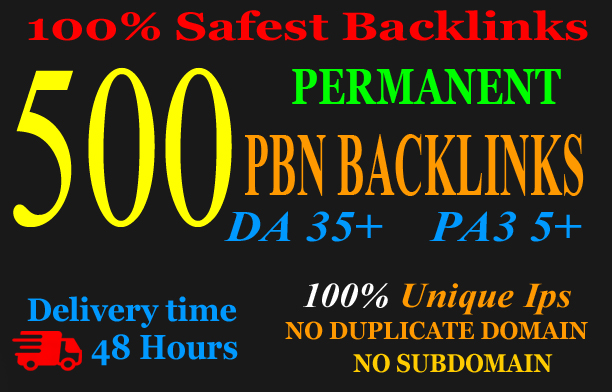 Get Extreme 500+PBN Backlink in your website hompage with HIGH DA/PA/TF/CF with unique website
