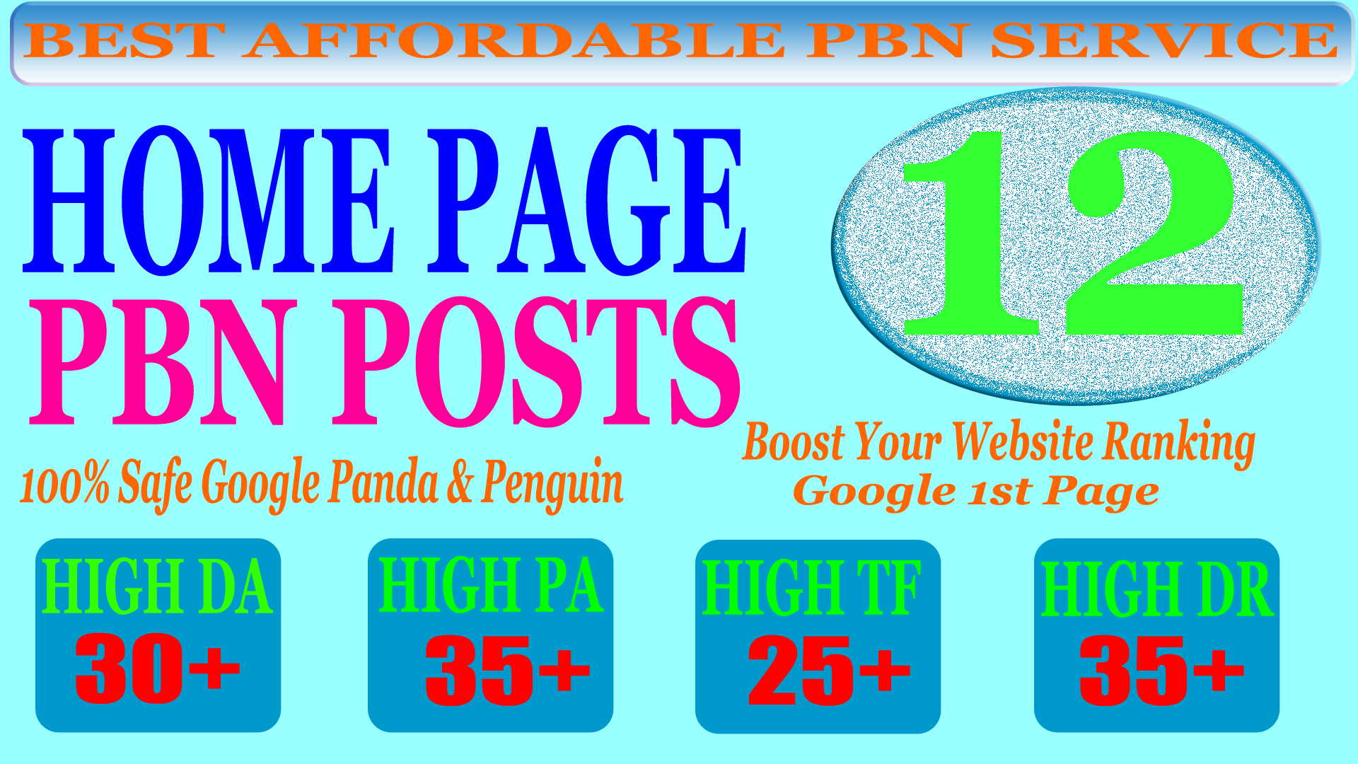 12 Homepage PBN Post with High DA PA CF TF (25+) Moz Authority Expired domain Backlinks