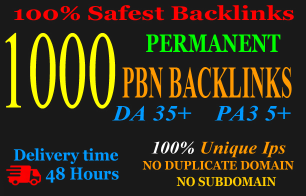 Get Extreme 1000+PBN Backlink in your website hompage with HIGH DA/PA/TF/CF with unique website