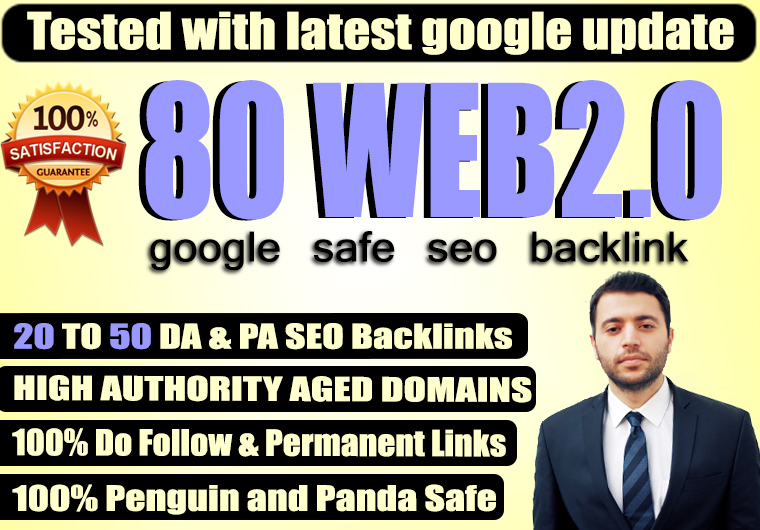Build 80 Permanent WEB2.0 Backlinks With High DA PA TF CF Dofollow backLinks
