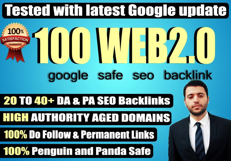 Provide 100+ Web 2.0 High TF CF DA PA 30-70 Dofollow Backlink to rank your site