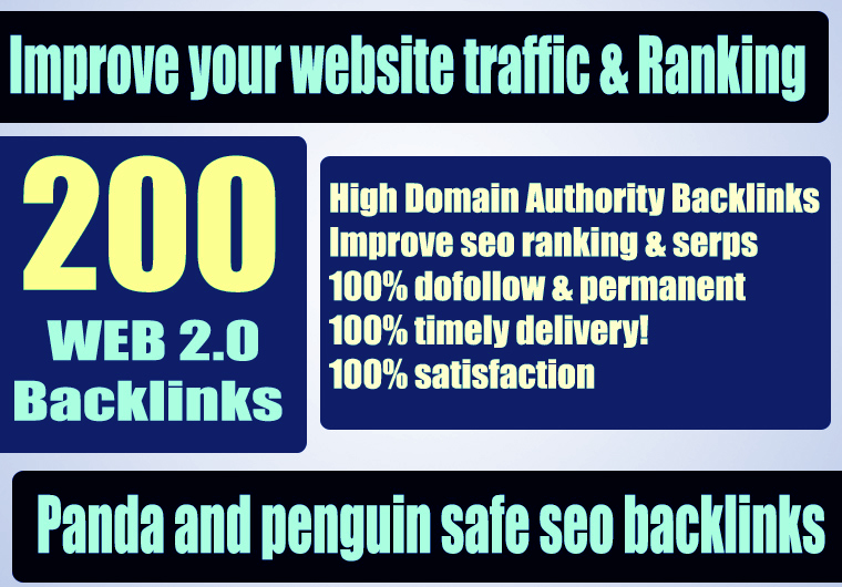 Premium 200+ WEB 2.0 Backlink with Permanent Dofollow & High DA PA TF CF
