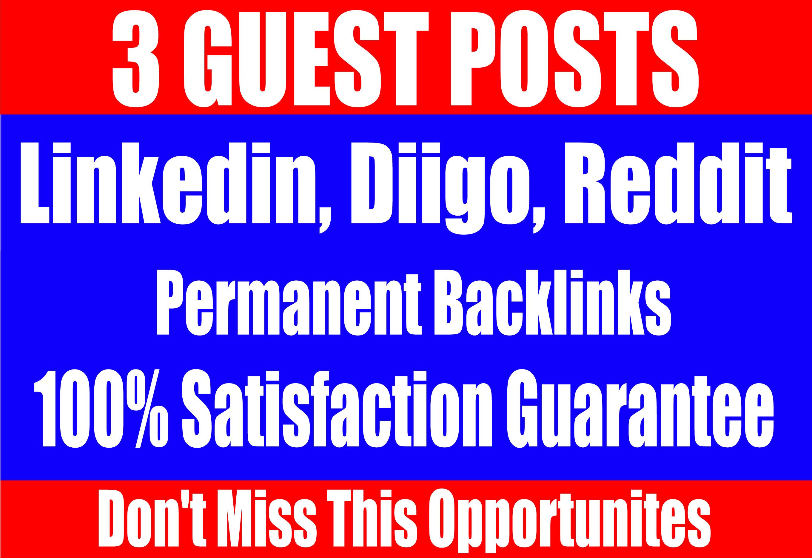 Publish 3 Guest Posts on Linkedin,  Diigo,  Reddit - High DA-90+ websites Boost your SEO Ranking