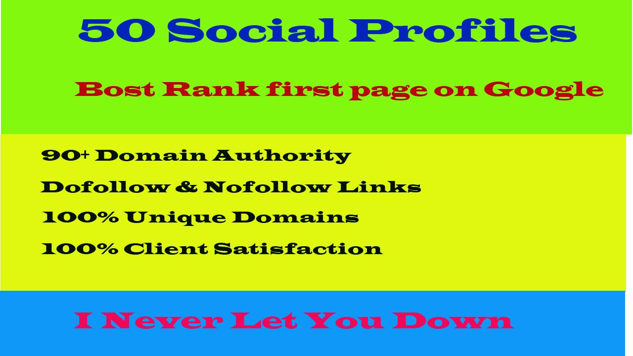 I will build 50 high da and pa social profile setup or profile creations backlinks