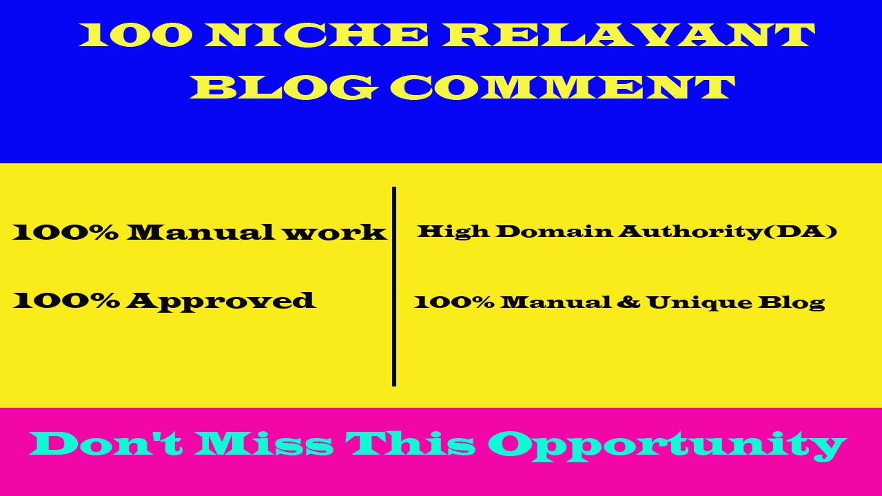 Build 100 Niche Relevant Blog Comments Backlinks on High DA Blog