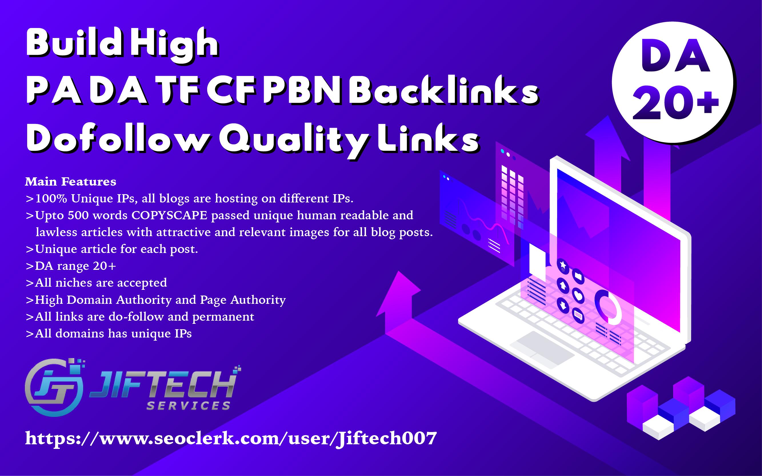 Build High PA DA20+ TF CF 20 PBN Backlinks - Dofollow Quality Links