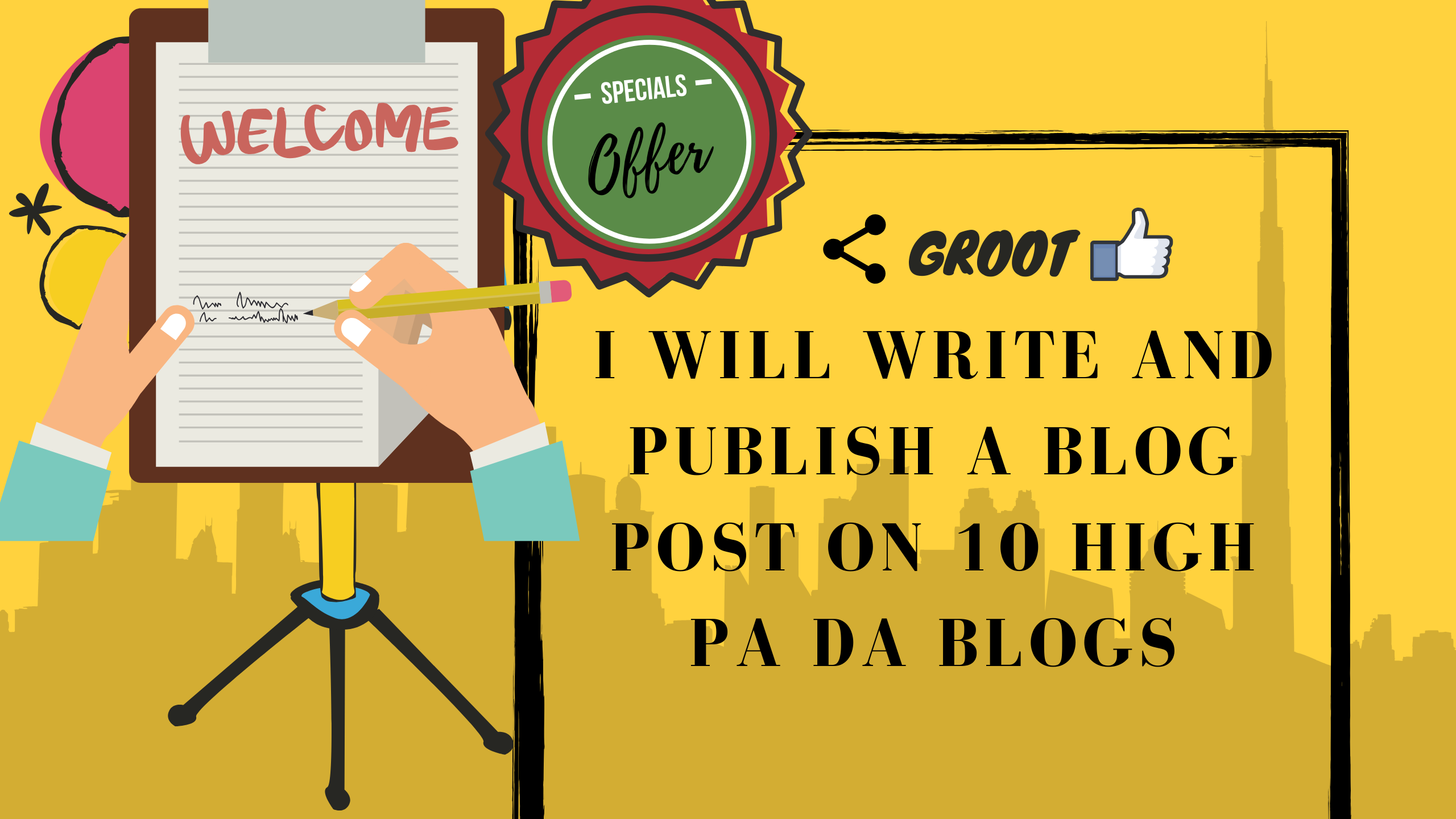 I will write and publish a blog post on 10 high PA DA Blogs