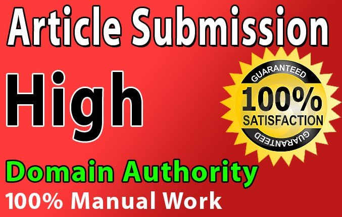 I will provide 30 article submission with high da backlinks