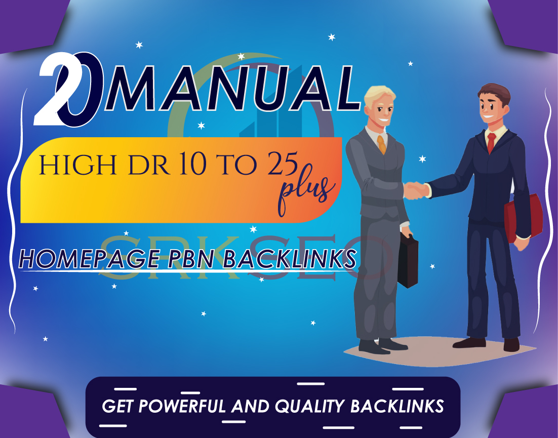 20 Manual High DR 25 Plus Homepage PBN Contextual Backlinks