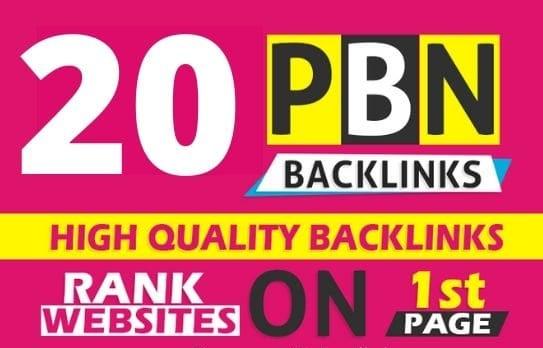 20 High quality PBN Backlinks with High PA DA TF CF