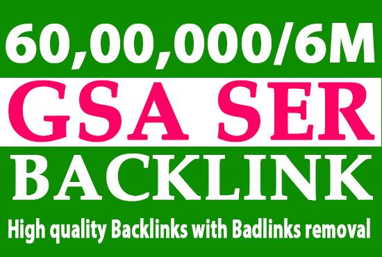I will do 6000000 gsa, dofollow, manual backlinks for seo