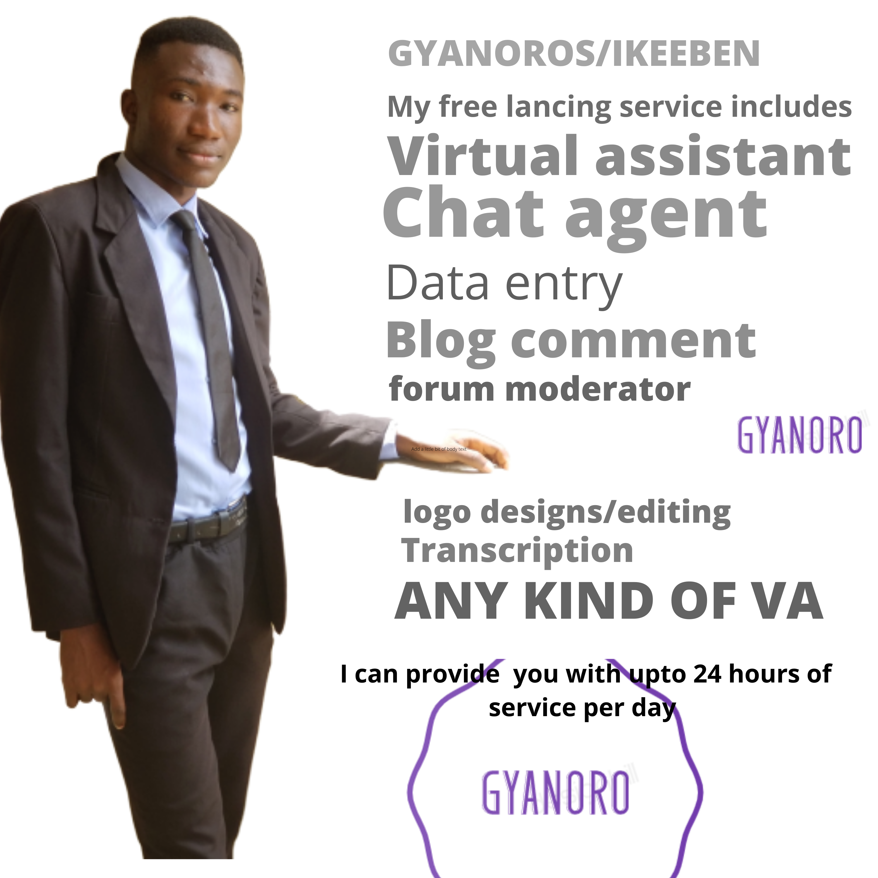 I will be your virtual assistant 0.5 to 1 usd per hour