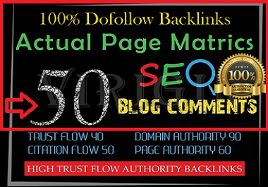 Provide 50 Niche Blog Comments Backlinks High Quality With DA, PA
