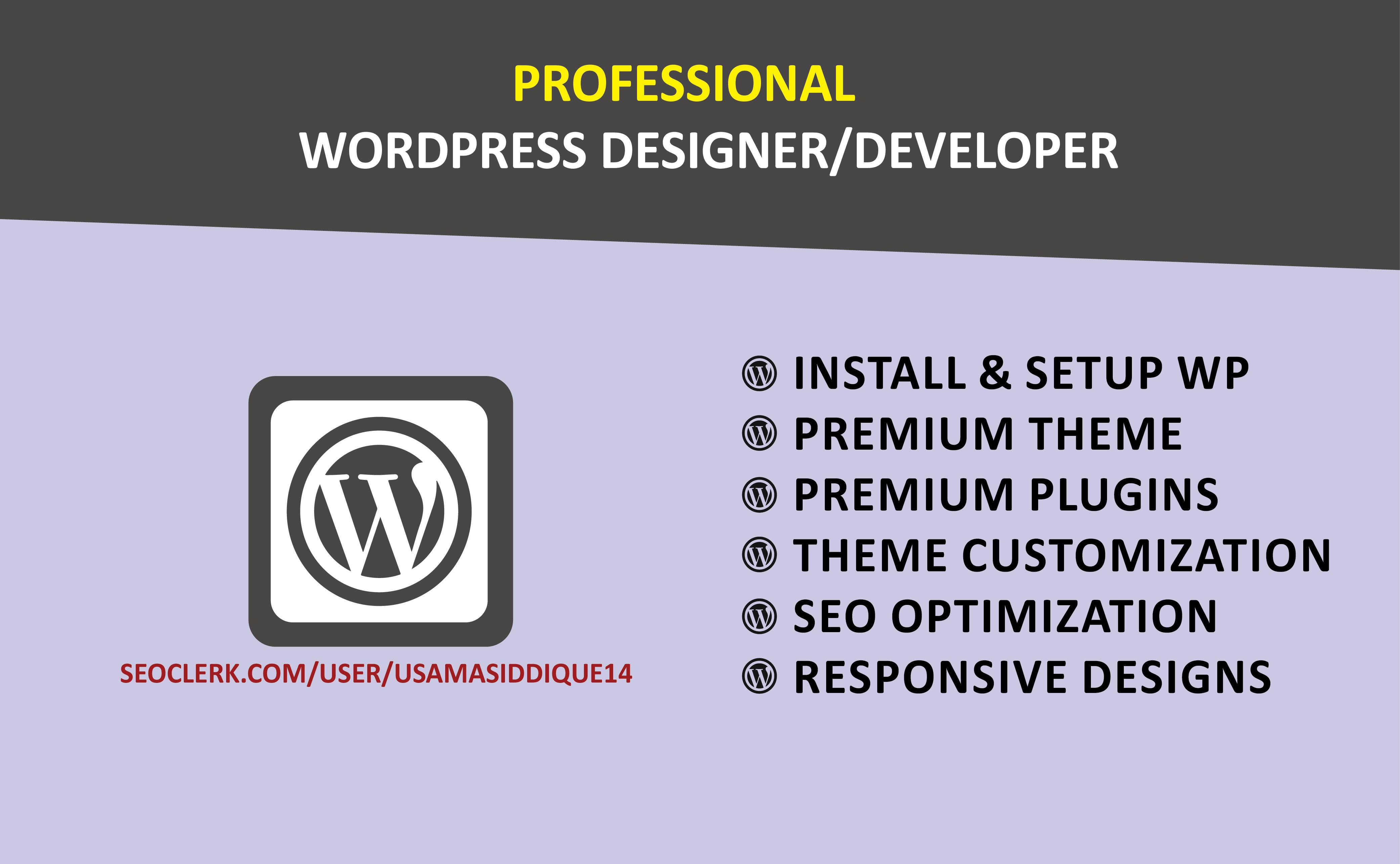 I will create professional responsive WordPress website