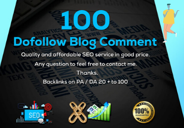 I will do 100 niche related blog comment and high qaulity backlinks