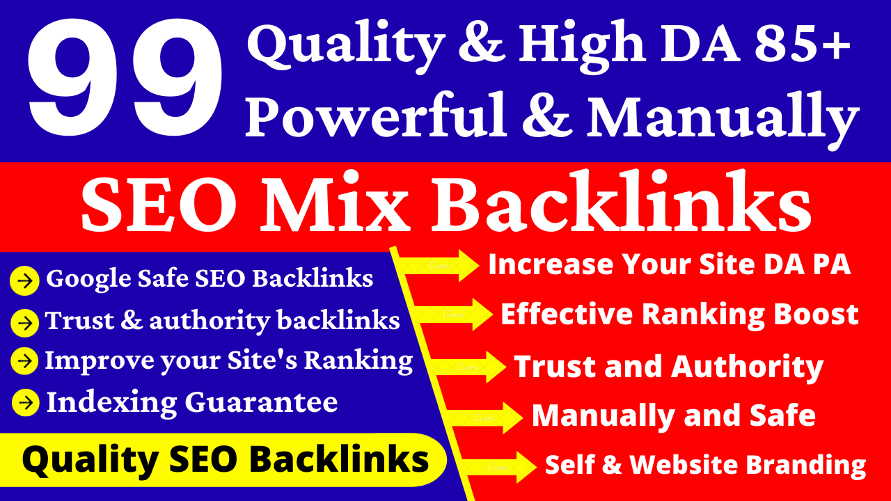 99 Manually & Quality SEO Mix Backlinks with White Hat Method. Edu,  Web2,  Press Relase & Many More