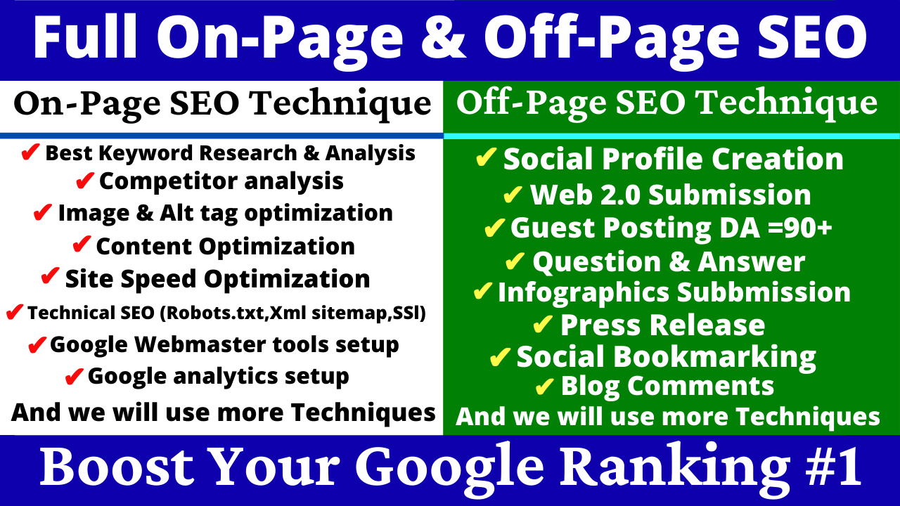 Full On Page & Off Page SEO Optimization Top Website Ranking Google 1st Page Boost Your Rank