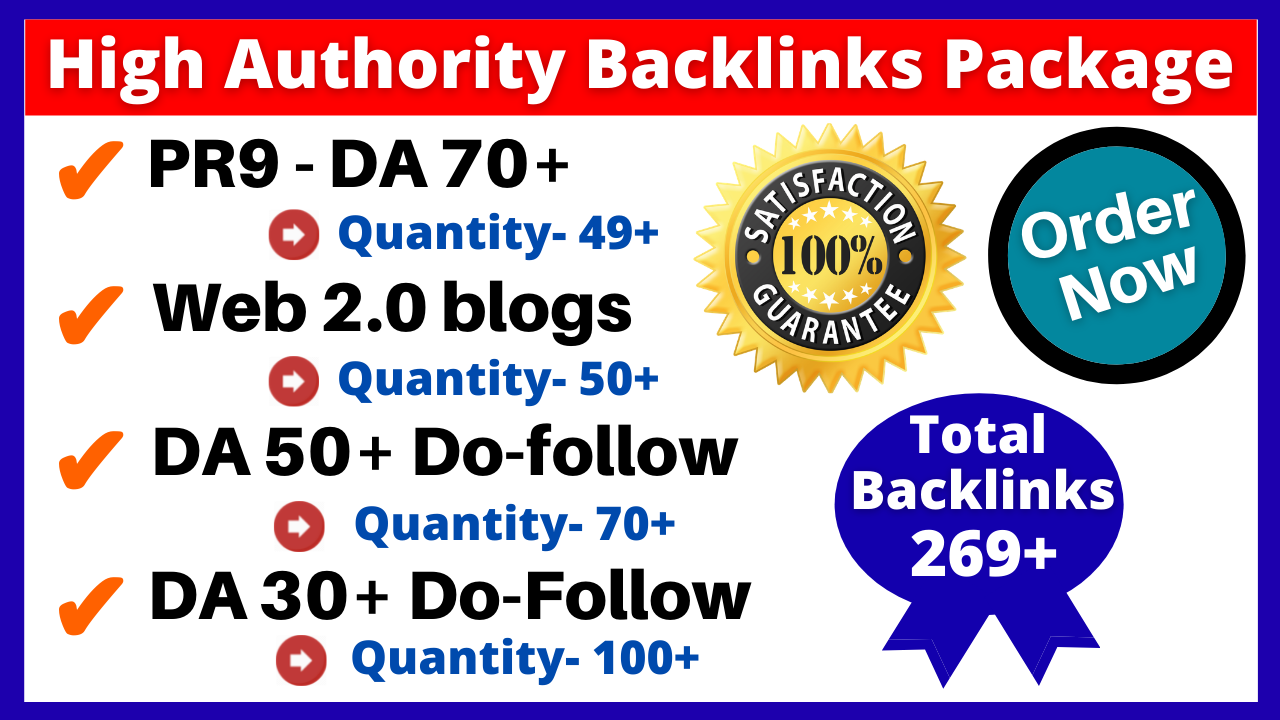 Create 269+ High Authority & quality SEO Backlinks Link Building Service Package Boost Your Rankings