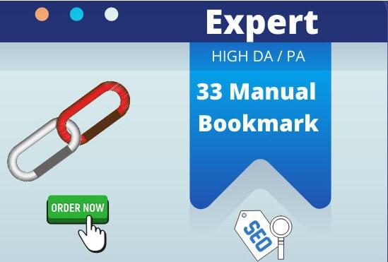 I will do 33 social bookmarking on high PR backlinks