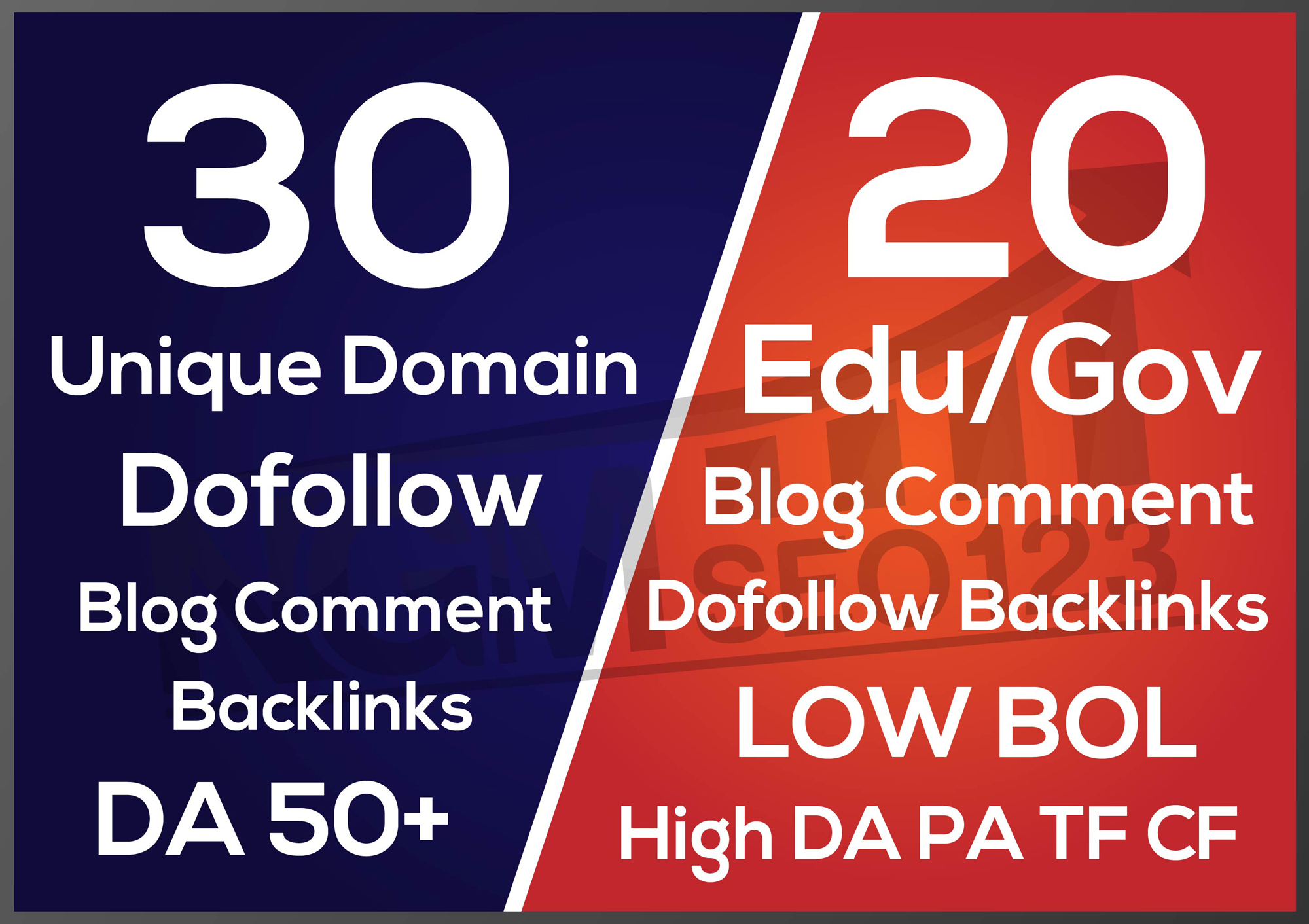 I will build 30 unique domain DA 50 backlinks 20 edu gov blog comment