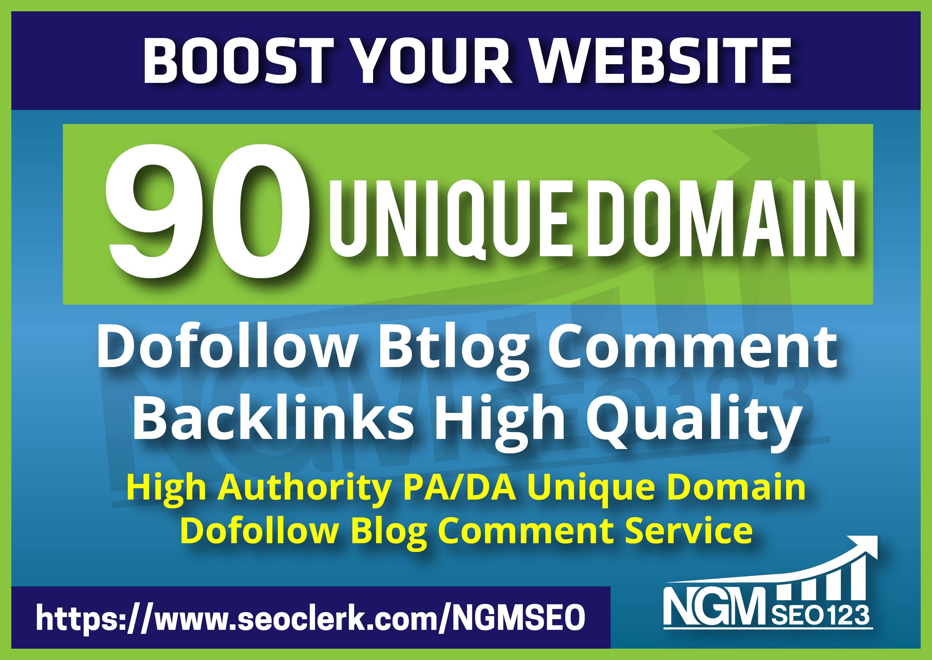 Provide 90 Unique Domain SEO Backlinks on tf100 da100 sites