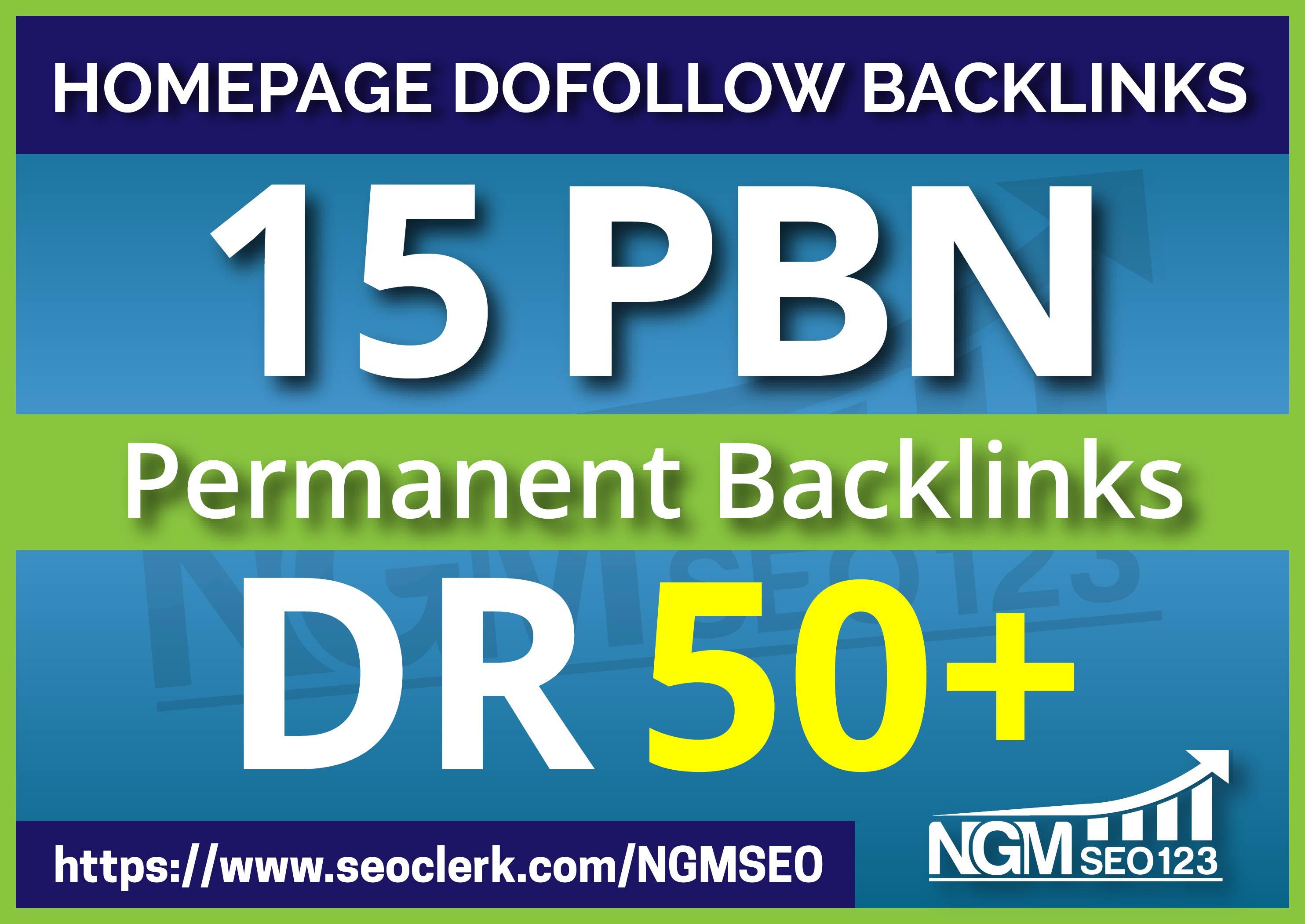 Provide 15 PBN DR 50 Plus Homepage Permanent Backlinks