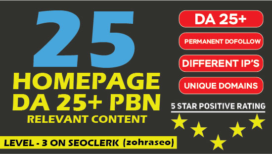 I will Create 25 Homepage Permanent PBN Backlinks with High Metrics And Low Spam