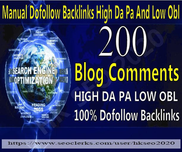 200 dofollow backlink blog comments on high da pa low obl