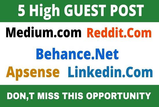 DA92+ Publish 5 Guest Post medium,  Reddit,  Behance,  Apsense,  Linkedin