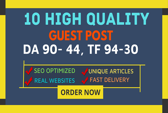 DA50+ Write And Publish 10 Guest Post On Websites Fast Google Index