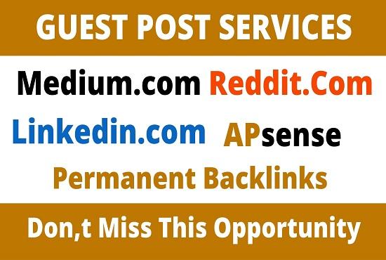 DA93+ Publish 4 Guest Post On medium,  Reddit,  Linkedin,  Apsense