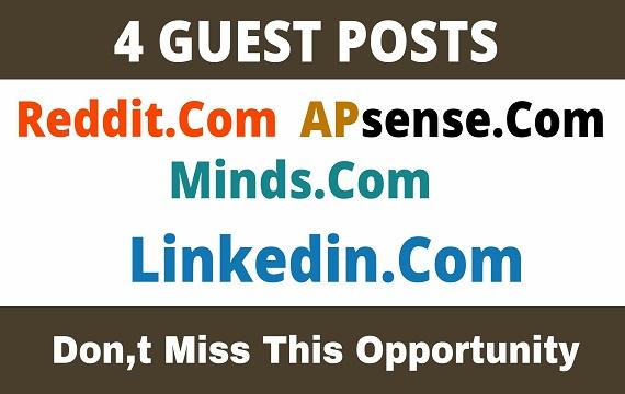 Publish 4 Guest Post On Reddit,  APsense,  Minds,  Linkedin