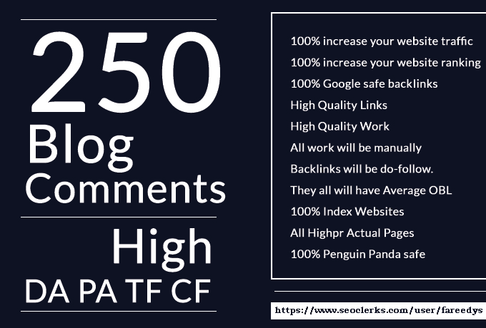 250 DoFollow Blog Comment Backlink DA PA TF CF