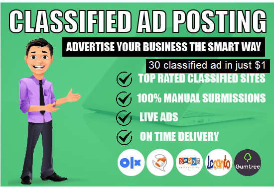 I will do 30 classified ad posting to top rated sites