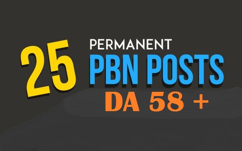 25 Permanent Manual High Quality DA 58 - 30 Homepage Dofollow PBN Backlinks