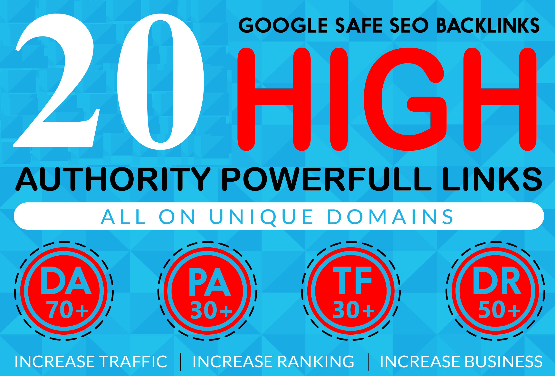 20 Homepage Backlink DA70+ PA50+ PR7+ Permanent & Dofollow With unique website