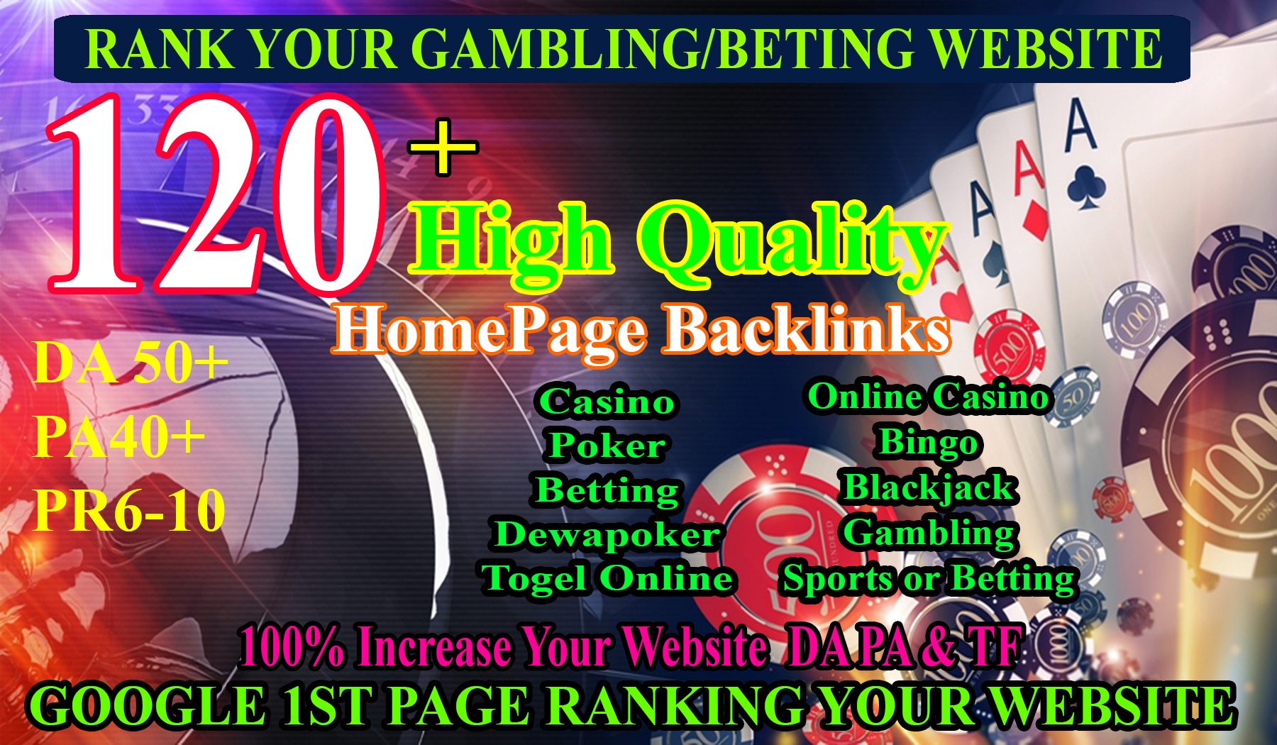 120 High Quality Homepage Backlink Casino,  Poker,  Gambling BETTING DA50+ PA 40+ 100 DOFOLLOW