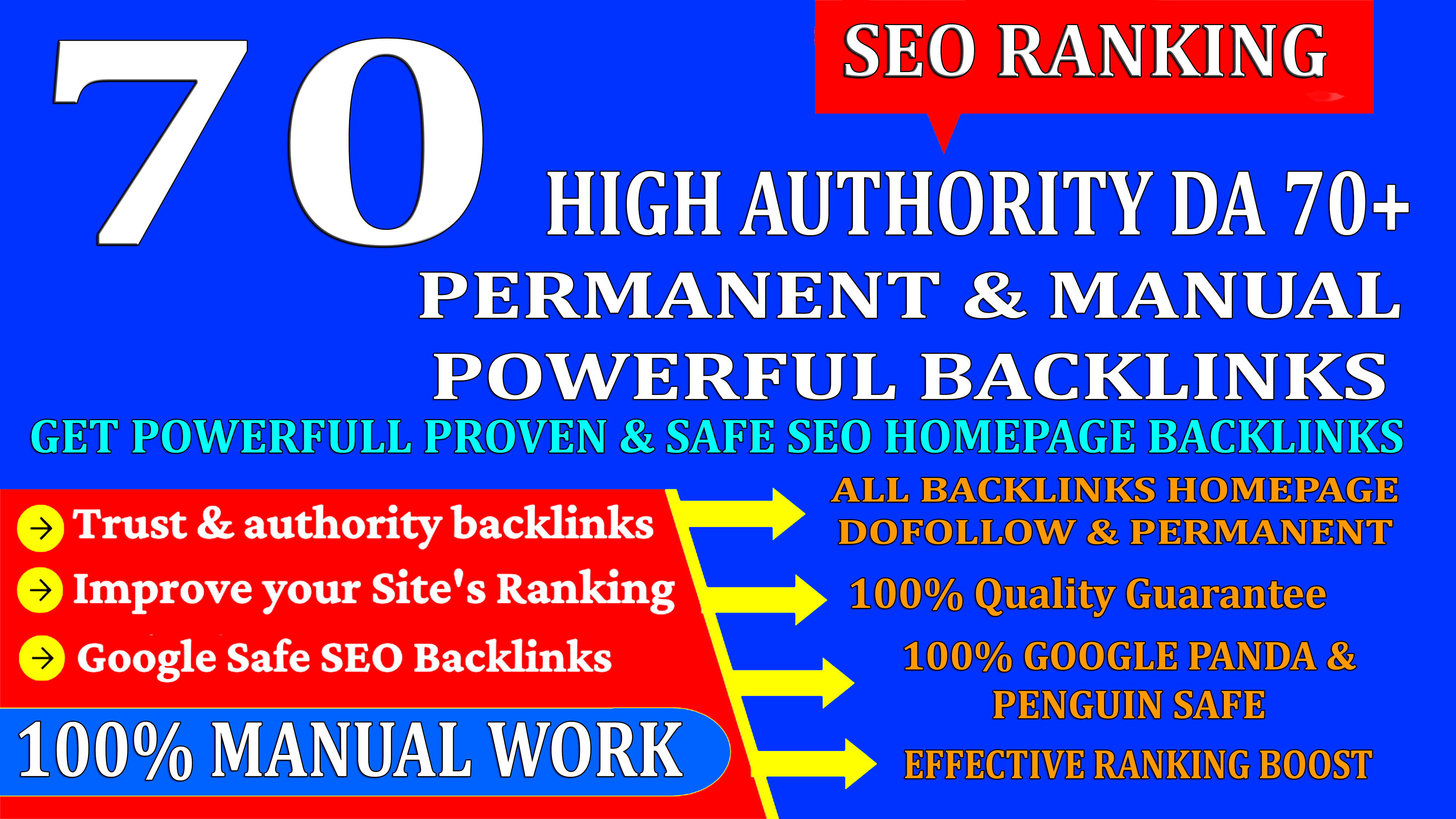 70 High Authority DA 70+ Homepage web2.0 seo Backlink Permanent & Dofollow With unique website